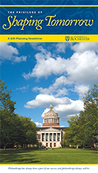 Image of the University of Rochester's planned giving newsletter, Shaping Tomorrow